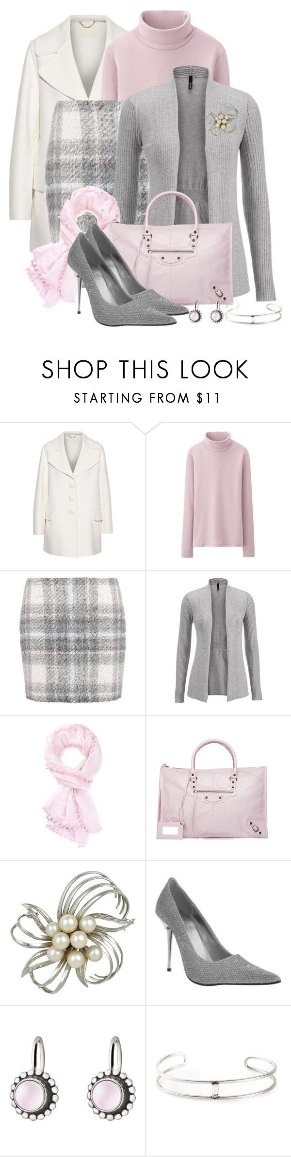 """Pink and Grey Plaid"" by cathy0402 ❤ liked on Polyvore featuring Marc Jacobs, Uniqlo, Expresso, maurices, Forever 21, Balenciaga, Sharon Mills, The Highest Heel, Georg Jensen and Gerard Yosca"