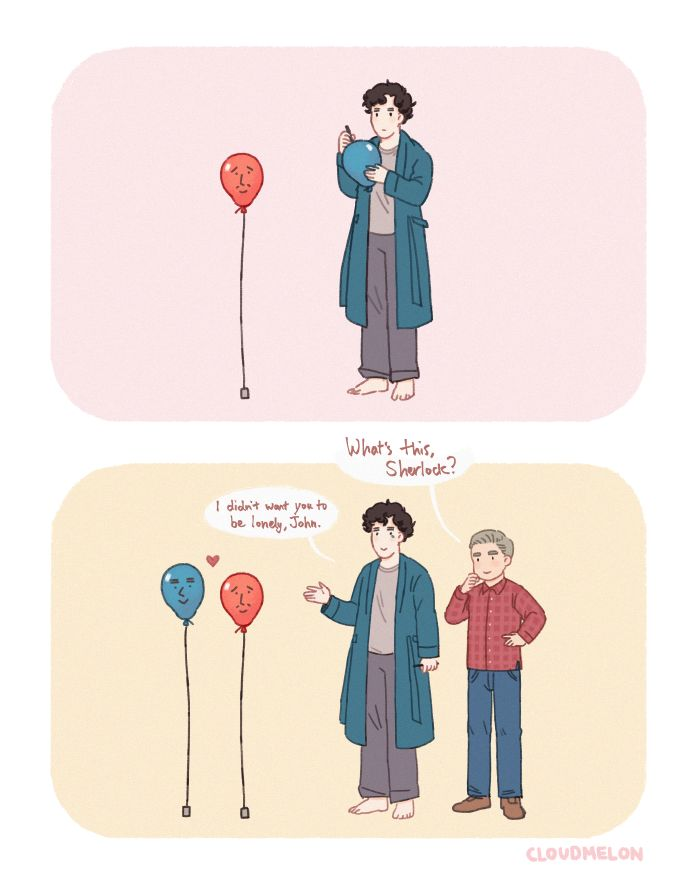 John and Sherlock fan art - Awww!!! Oh, dear. Do we have balloon!lock now?<<< YAS!!!!!!