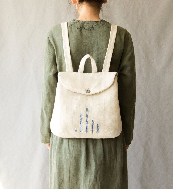 Serenity Linen Backpack. Eco cotton white hand by Kinzzza on Etsy