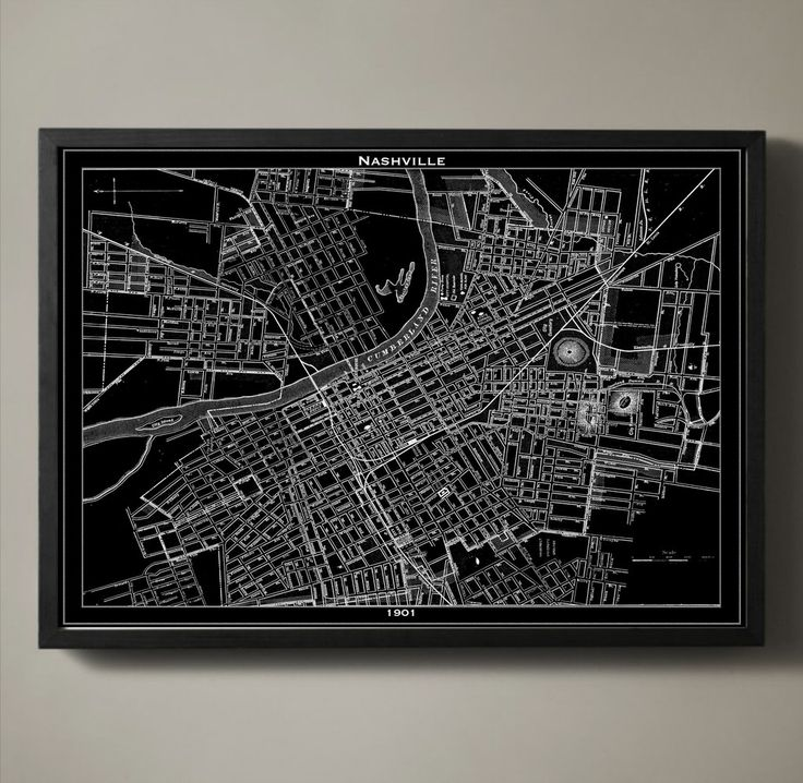 Music City was not yet the music hub it is today back in 1901. It was a city of dirt roads, downtown feed stores and a busy waterway. This vintage style city map is printed on premium archival stock for you to enjoy for years to come. #nashville-map-print