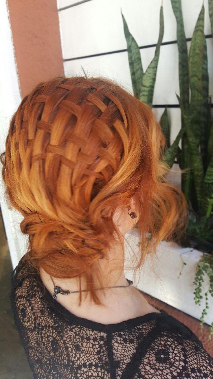 Basket weave braid hairstyle updo