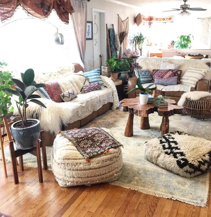 cozy boho living room with floor pillows