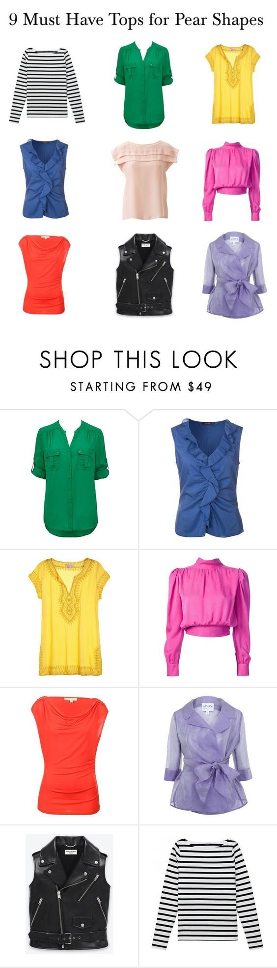 """Tops For Pear Shapes"" by elsasima ❤ liked on Polyvore featuring Forever New, Laurèl, Calypso St. Barth, Yves Saint Laurent, MICHAEL Michael Kors, Armani Collezioni, women's clothing, women's fashion, women and female"