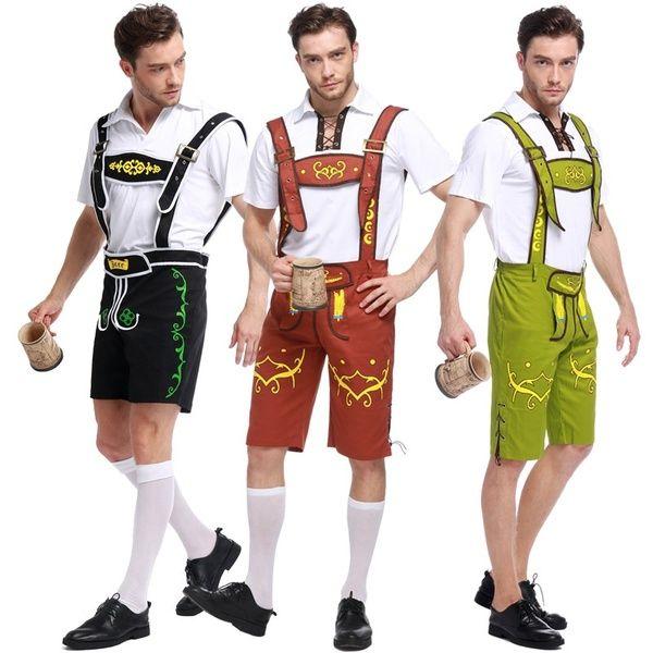 Mens Oktoberfest Bavarian Beer German Lederhosen Fancy Dress Costumes New Blue