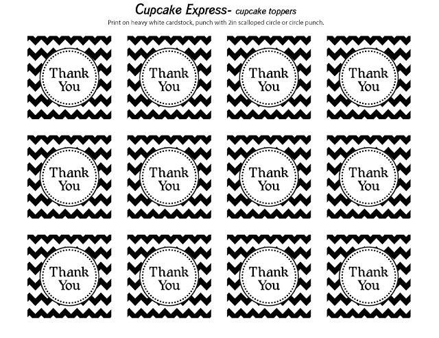 free printable black and white chevron thank you tags