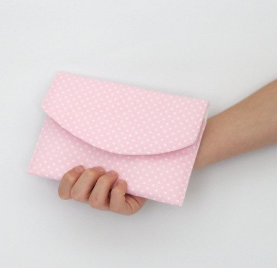 Envelope Style Pouch  Small Spot  Pink and White by VickiElle01