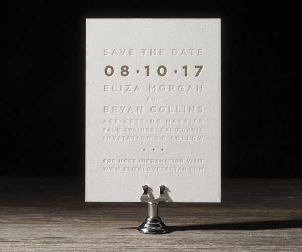 Foil stamped save the dates featuring Jessica Tierney's new Parker design
