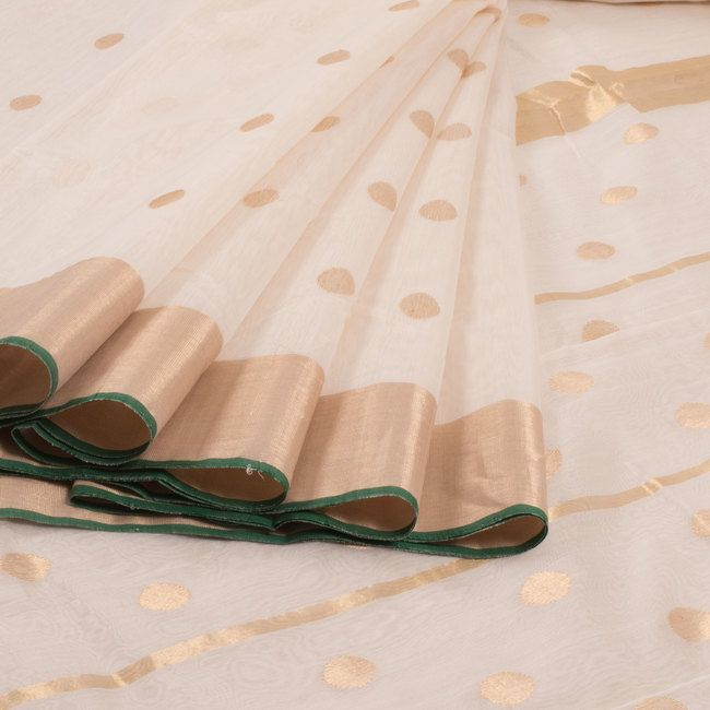Marm White Handwoven Chanderi Silk Cotton Saree With Tissue Border & Polka Dots Motifs 10007933 - profile - AVISHYA.COM