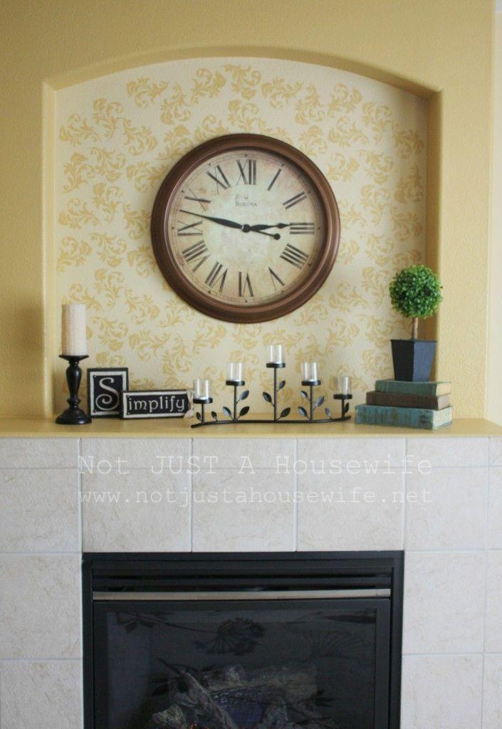 Stenciling above fireplace: Cozy Stencil, Stencil Wallstencil, Fireplaces Mantels, Decor Ideas, Yellow Wall, Stencil Patterns, Fireplaces Makeovers, Décor Ideas, Stencil Fireplaces