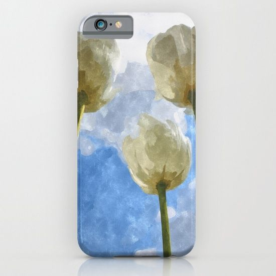 White tulips and cloudy sky digital watercolor by Natalia Bykova iPhone & iPod Case on Society6. #iphonecase, #ipodcase, #Society6, #tulips, #floral