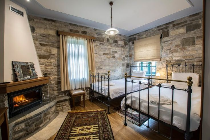 Standard double-Room (Νο 2) Boutique hotel, Traditional guesthouse, Stone, Wood and natural fabrics textiles