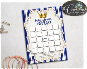 Check out Little Prince Bab.... Find it here: http://snoopy-online.myshopify.com/products/little-prince-baby-shower-printable-bingo-gift-blank-cards-game-in-royal-blue-gold-theme-digital-files-jpg-pdf-instant-download-rp001