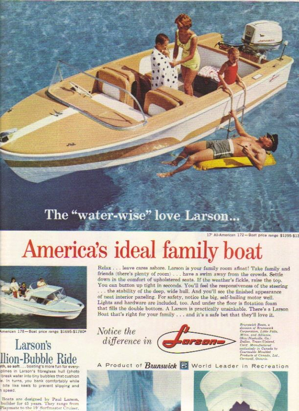 Vintage Ad 1961 Larson 17' All American 172 & 178 Boats $1295-$1780