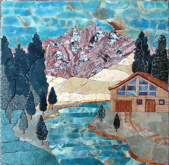 $496 Mountain Cottage Near River Natural Scene Landscape Marble Mosaic Tile Artwork Design for Home Deco - MP088