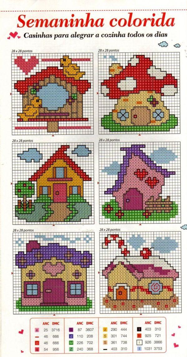 Casas gratuito Cross Stitch padrão gráfico por Angela Anderson-DePew