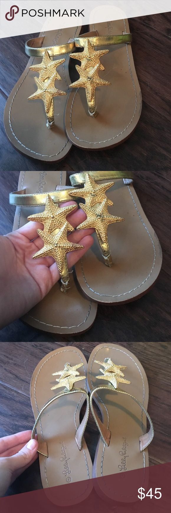 Lilly Gold Starfish Sandal Flip Flops size 7 Adorable gold starfish sandals only worn twice, lots of life left! Some wear on the bottom and slight discoloration on the left shoe's gold star. Lilly Pulitzer Shoes Sandals