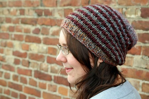 Striped Slouchy Beanie Hand Knitted Beanie Hat Mens Hat, Womens Beanie by PolClary