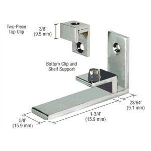 """C.R. LAURENCE MC04BN CRL Brushed Nickel Combined Shelf Support and Mirror Clip by C.R. Laurence. $25.99. 5/8"""" (16 mm) Wide For 1/4"""" to 5/16"""" (6 to 8 mm) Mirror and Shelf Available in 3 Finishes Supplied with Wood Screws and Anchors The CRL Combined Shelf Support and Mirror Clips are uniquely designed for 1/4 to 5/16 inch (6 to 8 millimeter) mirror and shelf. They simplify the process of installing mirrors by using the one-piece combined shelf support and clip on t..."""