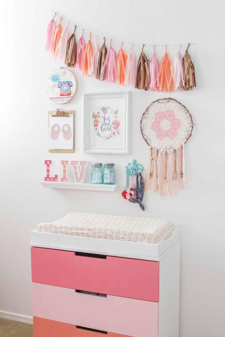 pink nursery furniture. diy coral and pink dresser love the upcycle this piece got for a baby girl nursery furniture