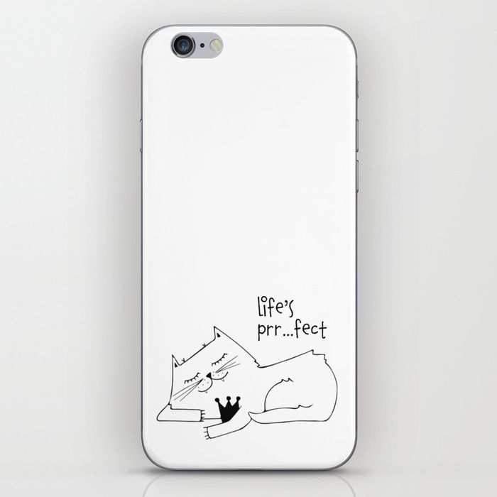 Cute skin for your mobile phone. Life is prrrfect.  (affiliate) . #catlover #affiliate #mobile #monochrome #cute