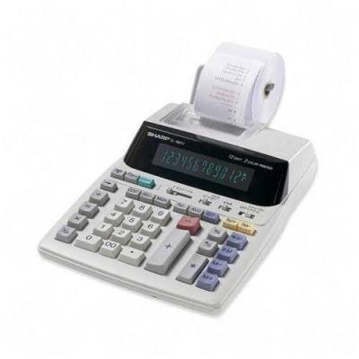 CALCULADORA SHARP COM BOBINA 1801.  Calculadora Eletrônica com Impressora e Visor.  Capacidade: 12 Dígitos  Suporte metálico para a bobina de papel 57mm.  Cálculo de custo/venda/margem de lucro.  Funções de calendário e relógio  Teclas para cálculos de taxas  Função grande total 4 teclas para memória. Impressão em 2 cores.  Dimensões (LxAxP): 19,3 x 25,5 x 6 cm.   Acessórios: 1 rolo de papel, 1 rolo de tinta (instalado), 1 pilha de lítio (instalado)  Voltagem: 127v