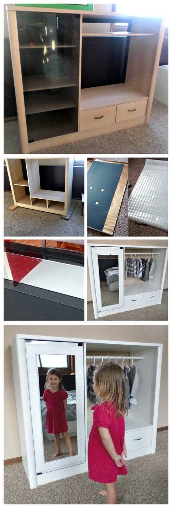 Entertainment Center Turned Kids Closet Armoire: Recreate an old tube TV entertainment center into a useful storage solution for your daughter's bedroom.