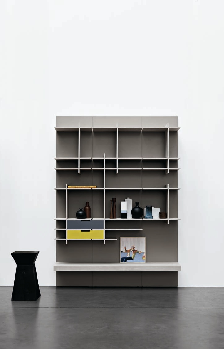 Sectional storage wall C_DAY by CESAR ARREDAMENTI | #design Gian Vittorio Plazzogna #interiors #books