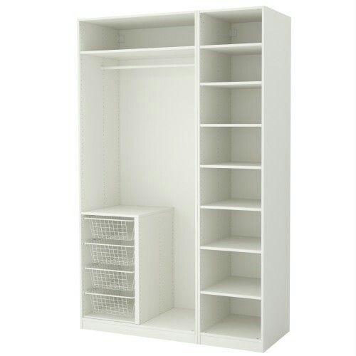 Armário Luiza: Porta1: nichos e cabides longos Porta2: gaveteiro e cabides curtos Maleiro em td extensão