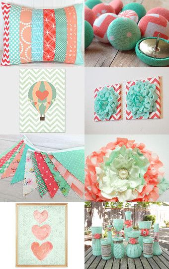 Peach, Coral Pink and Mint Green Nursery Decor