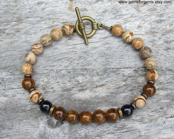 Mens Beaded Bracelet Coffee Brown Dolomite Picture by GemsForGents