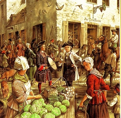 Great depiction of a busy market scene in Montreal, Canada, in 1749 by Francis Back - Found via Flintlock and Tomahawk