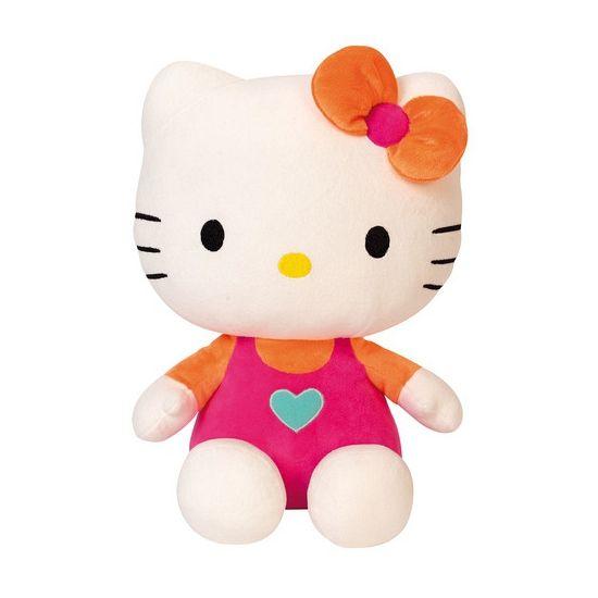 Pluche Hello Kitty roze 30 cm. Pluche Hello Kitty knuffel met roze kleding aan. Formaat: ongeveer 30 cm.