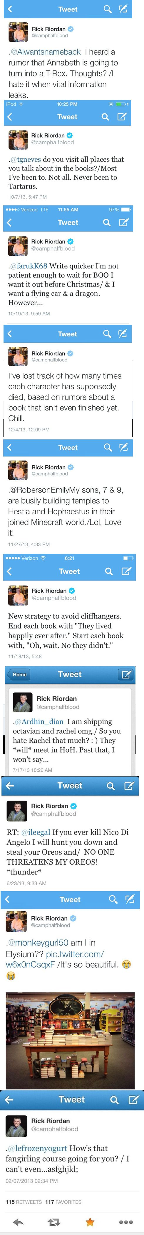 Rick Riordan tweets. 2 points. 1: Love his strategy for avoiding cliffhangers. 2: Even Rick hates Octavian.