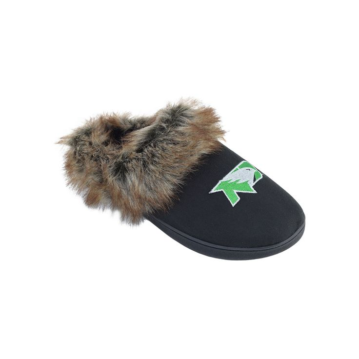 Women's North Dakota Fighting Hawks Scuff Slippers, Black