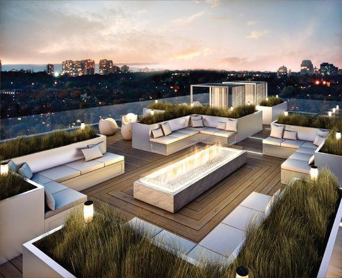 A splash of greenery, garden furniture, and a fancy lighting makes this rooftop so relaxing. #rooftop #terrace #deas