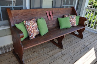 Move church pew outside and place bench made from crib in pew's place upstairs?