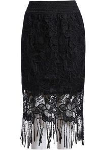 Tassel Lace Black Skirt