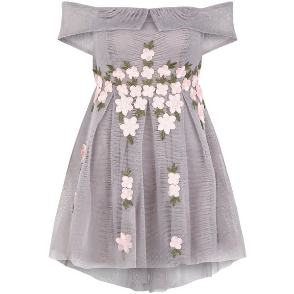 Petite Grey Mesh Floral Applique Bardot Neck Dress ($67) ❤ liked on Polyvore featuring dresses, vestidos, botanical dress, floral print dress, floral day dress, flower pattern dress and floral pattern dress