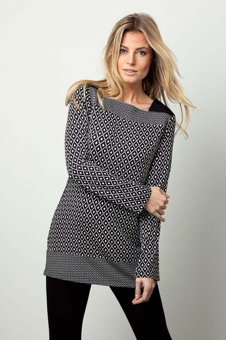 Monochrome diamond plaid print in a very stylish outfit that is more like daywear for around the home - Perfect for women who want a bit of style!