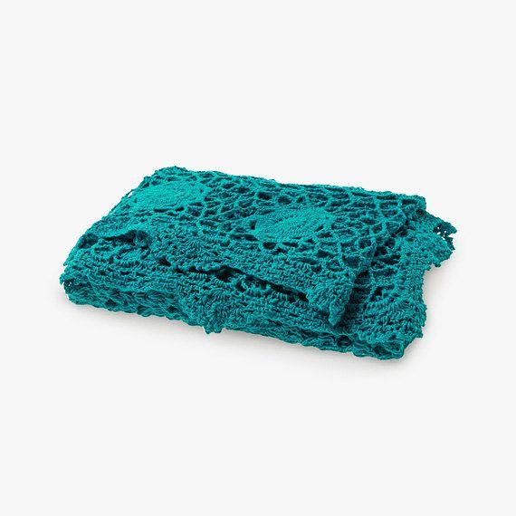 Teal crochet throw by AURA Home, Etsy