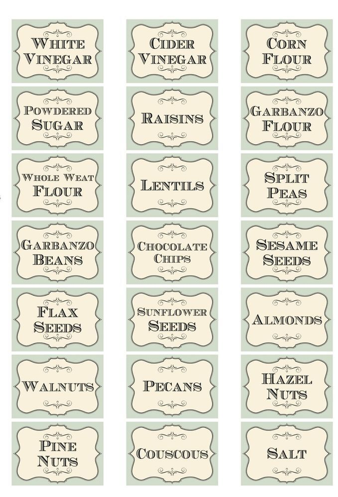 Vintage inspired shabby assorted herb spice food tea bottle jar labels stickers