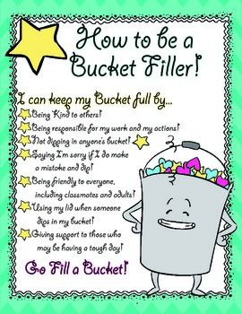 When your bucket is full, you are happy and when your bucket is empty, you may be sad. Bucket Filling is the perfect way to get your kids thinking about their feelings, and how their actions can truly impact everyone, including his/herself. I highly suggest trying out this character education program within your classroom and school!This poster, along with the amazing clip art (by TpT seller Pigknit), explains to students how they can each keep his/her bucket overflowing!Blowing this up to a…