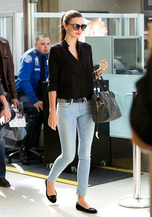 Black shirt + light blue denim
