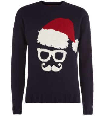 Navy Santa Glasses Christmas Jumper