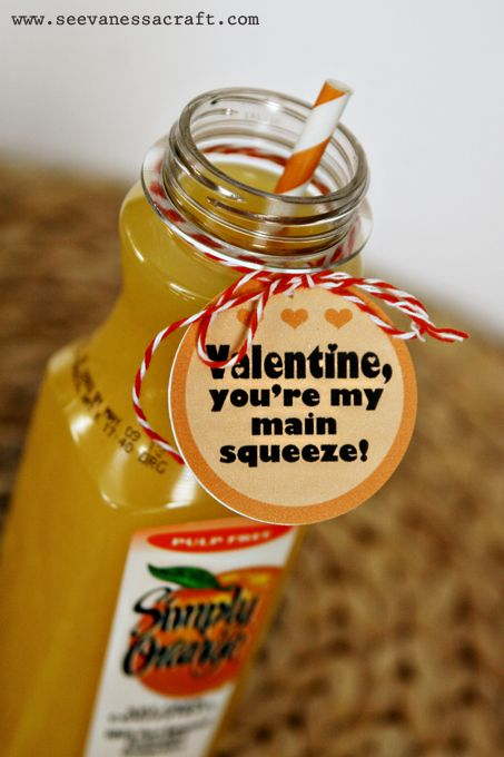 """for Car for daycare Valentine's Day Printable: """"you're my main squeeze"""""""