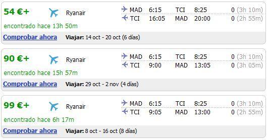 Listado de vuelos más baratos Madrid-Tenerfie para Octubre 2010