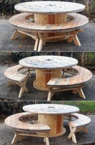 Cable reel table and benches.                 Gloucestershire Resource Centre http://www.grcltd.org/scrapstore/