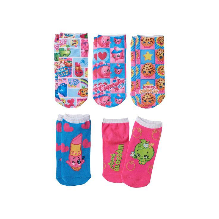 Girls Shopkins 5-pk. No-Show Socks, Pink