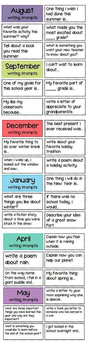 Writing prompts for the whole year! http://www.teacherspayteachers.com/Product/Polka-Dot-Design-Writing-Bundle-823458