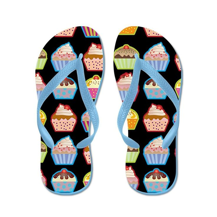 Lplpol Cute Cupcakes On Black Background Flip Flops for Kids Adult Unisex Beach Sandals Pool Shoes Party Slippers Black Pink Blue Belt for Chosen >>> Read more reviews of the product by visiting the link on the image.